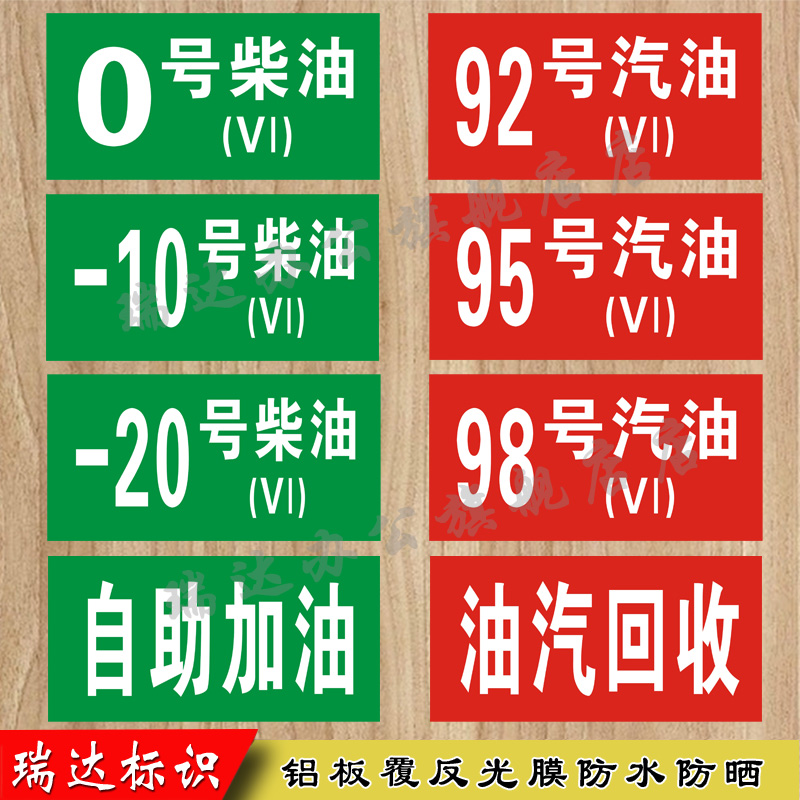 Gas station sign No.92 No.95 No.0 gasoline and diesel safety sign oil No.5, No.6 oil and gas recovery self service refueling aluminum plate reflective safety warning sign