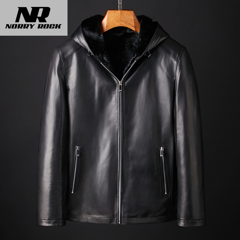 Men's 水毛 内 in the skin, a real hair leather leather jacket leather jacket hooded velvet fur coat