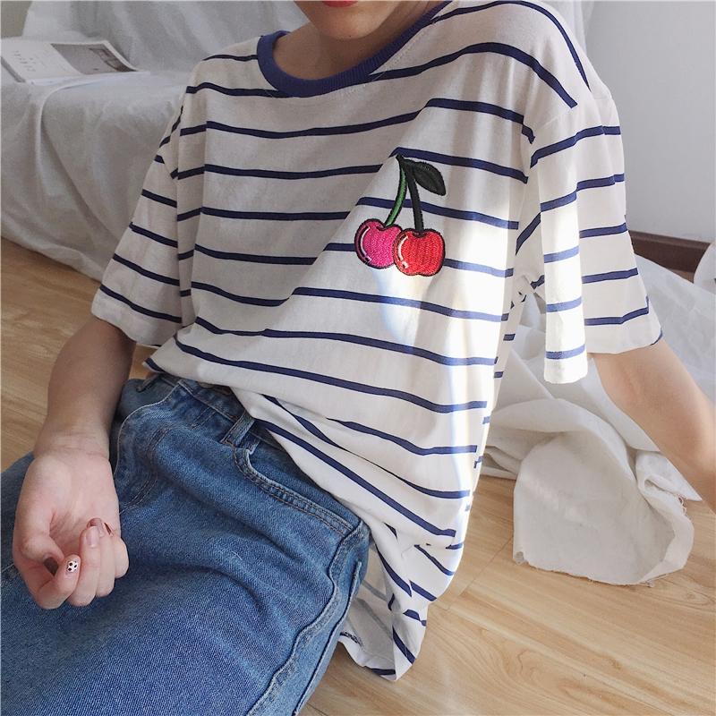 实拍!已检测~韩国学院风刺绣樱桃条纹宽松短袖T恤女学生上衣