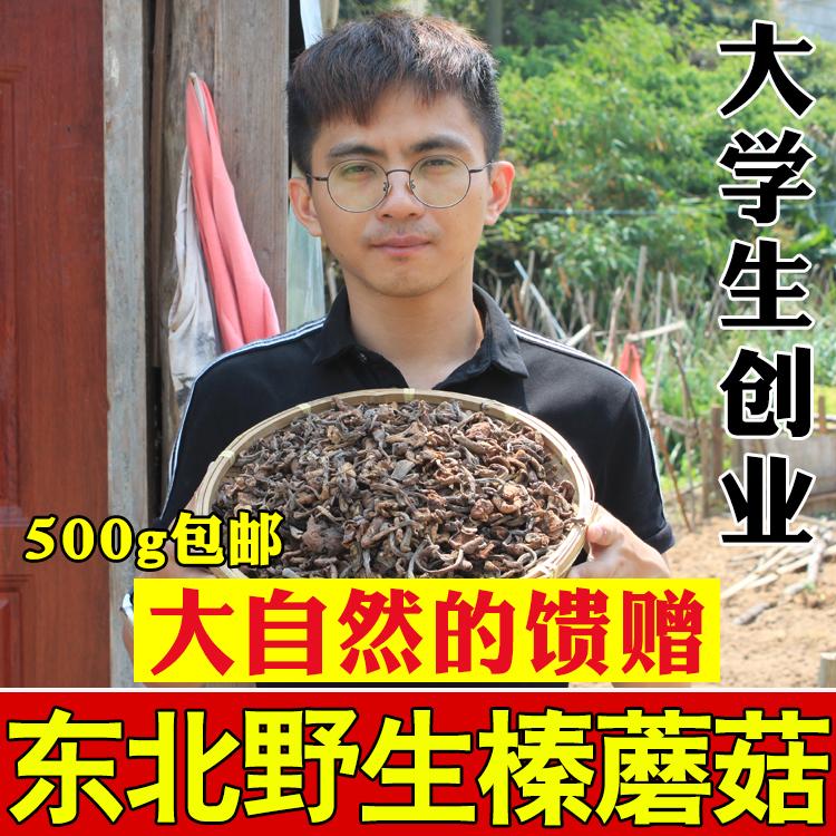 新货东北特产野生榛蘑菇小鸡炖蘑菇无根干货赛香菇榛蘑丁500g包邮