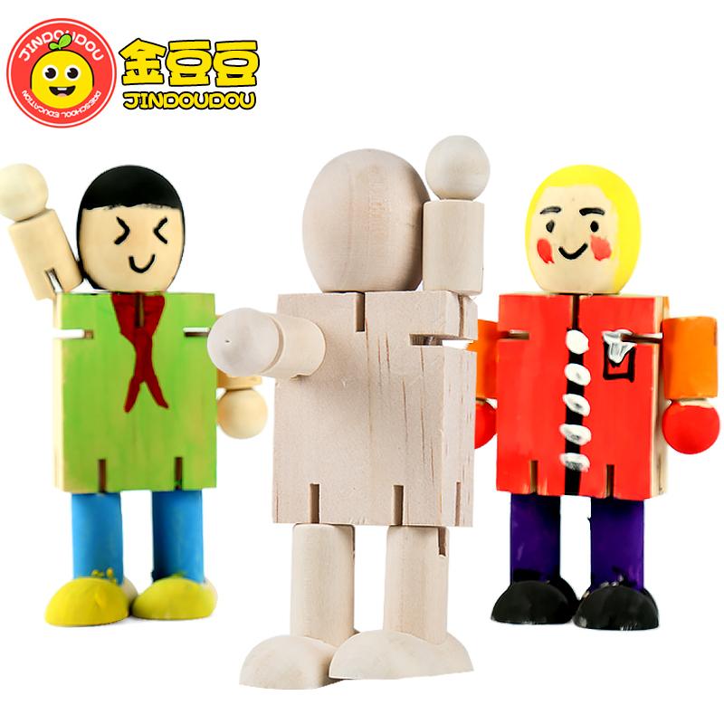 白坯木头人木人关节木偶卡通diy绘画涂鸦儿童木制机器人益智玩具