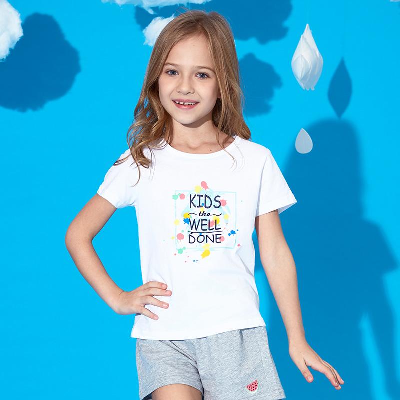 ABCKIDS童装女童体恤衫2018夏季新款男童纯棉T恤短袖防蚊儿童上衣