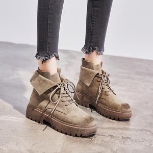 英伦风鞋子保暖马丁靴子2019秋冬季新款加绒棉鞋厚底短靴百搭女鞋