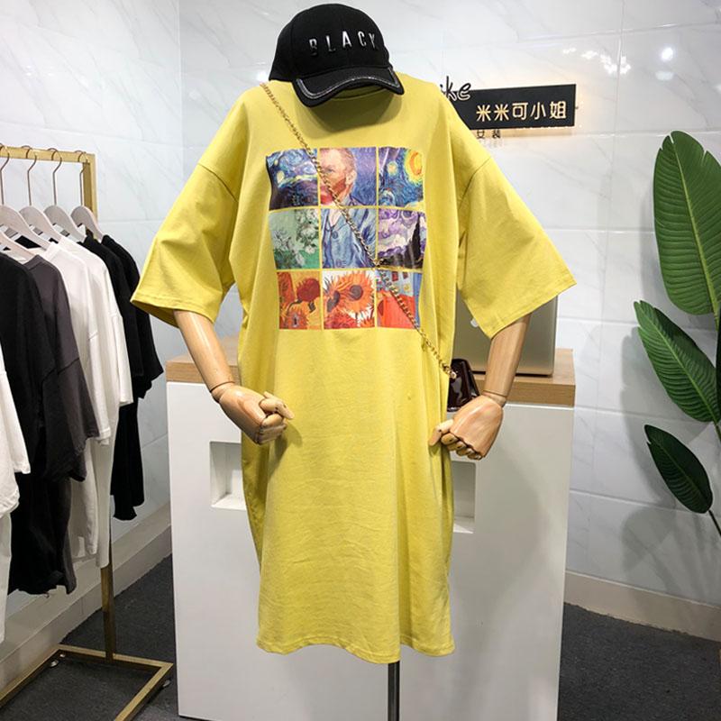 (用79元券)米米可2019夏季韩版卡通印花连衣裙