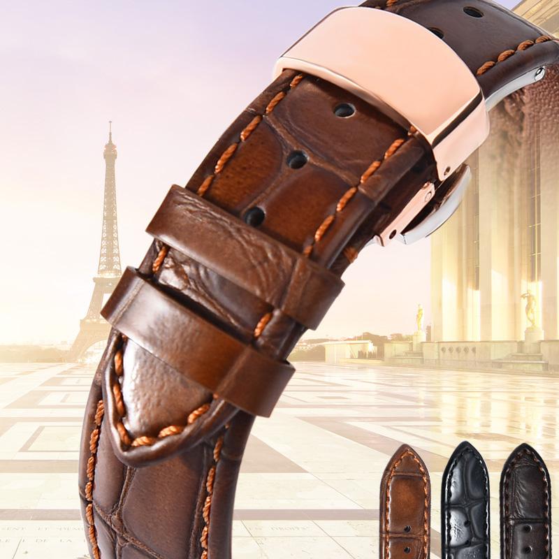 法国philpilan手表带蝴蝶扣男女 代用欧米茄天梭美度浪琴真皮表带,可领取10元天猫优惠券
