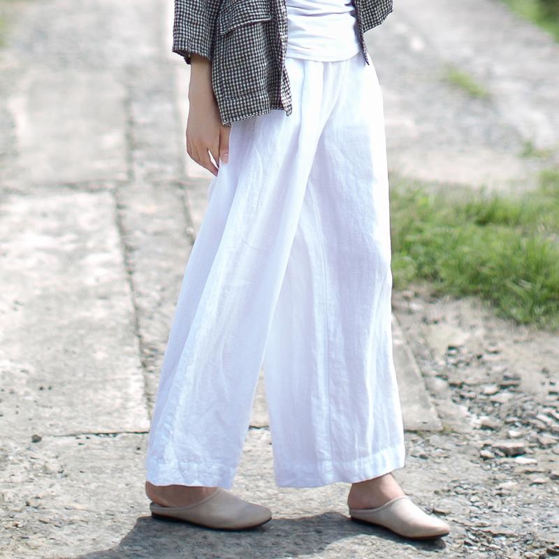 2018新款女装春装复古黑色亚麻裤子女棉麻九分裤宽松阔腿裤休闲裤