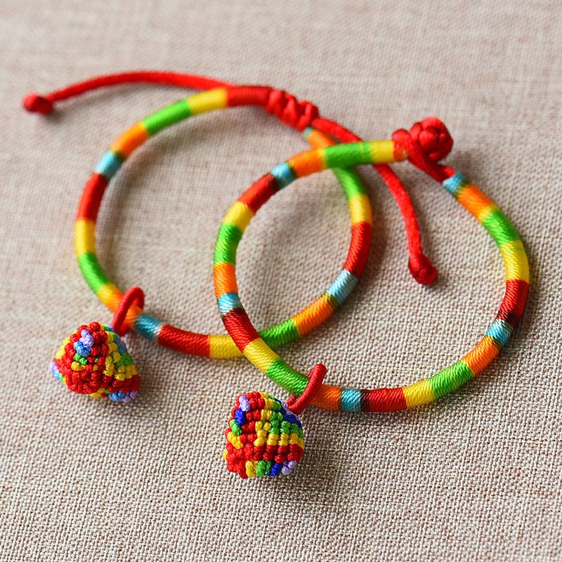贵少女心手链INS 超仙便宜端午节五彩绳小粽子红绳手工编织手绳宝