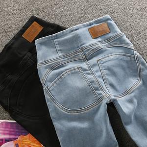高腰提臀性感浅蓝色春夏季牛仔裤