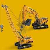 仿真儿童工程车挖掘机大吊车起重机模型男孩玩具六一儿童节礼物