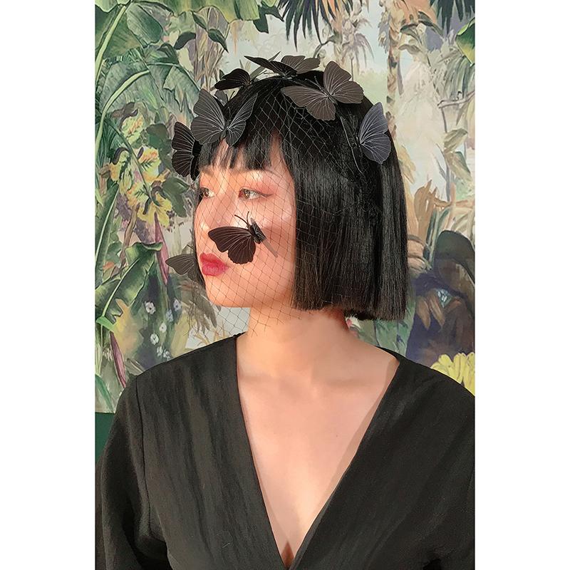 似是设计师品牌19年夏 复古蝴蝶网纱港风复古造型头箍头饰发带