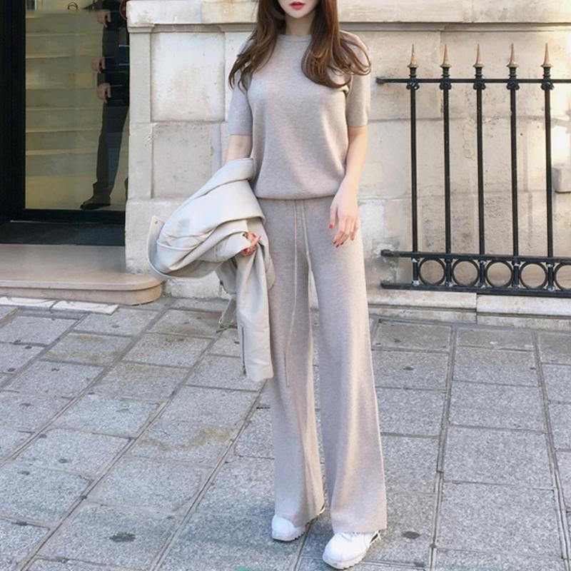 休闲时尚套装2018春夏新品女装短袖针织衫上衣阔腿裤长裤两件套潮