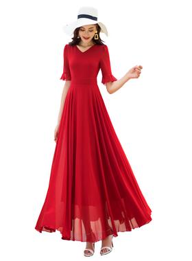沙滩裙2021新款红色连衣裙女春夏收腰显瘦长裙气质遮肉雪纺裙减龄