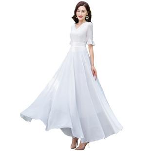 2020新款五分袖大擺純色V領連衣裙過膝度假沙灘裙大碼女裝長裙