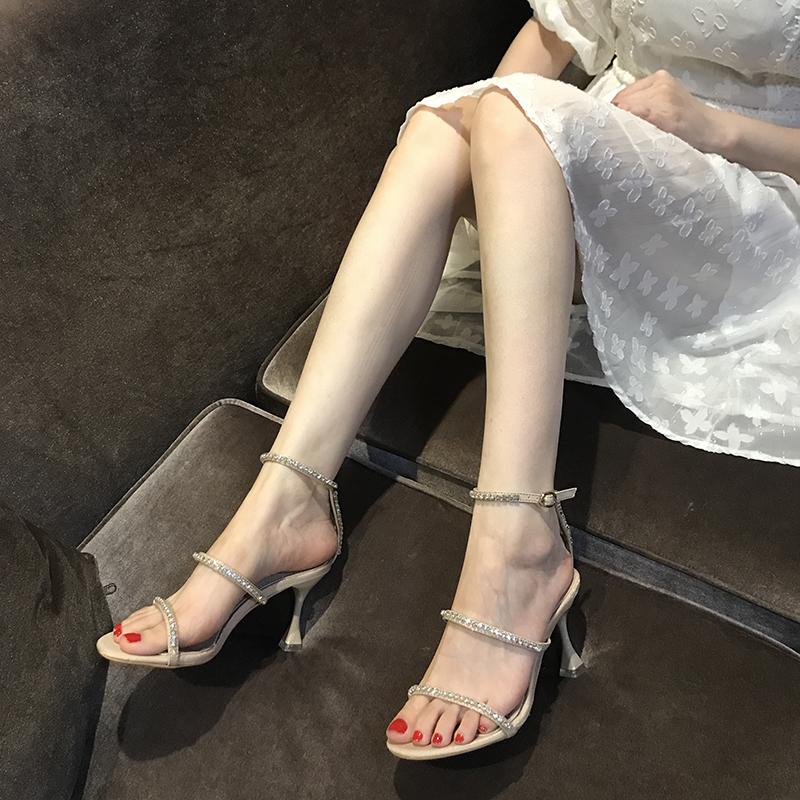 一字帶高跟鞋2020夏季新款性感百搭水鉆仙女風裸色時裝涼鞋女細跟