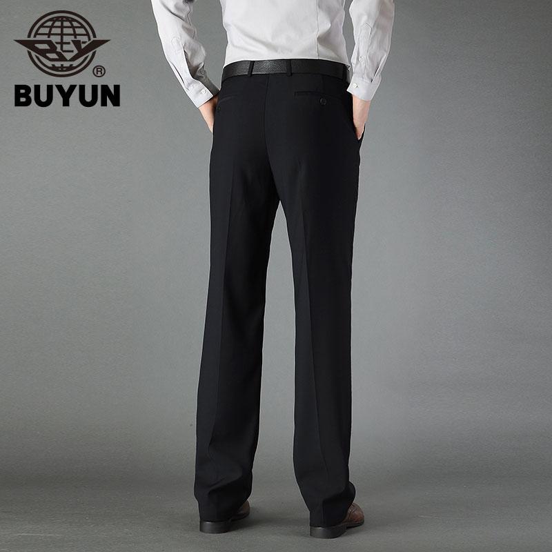 步云新款男士西裤免烫商务正装休闲中老年高腰宽松深蓝色西装裤