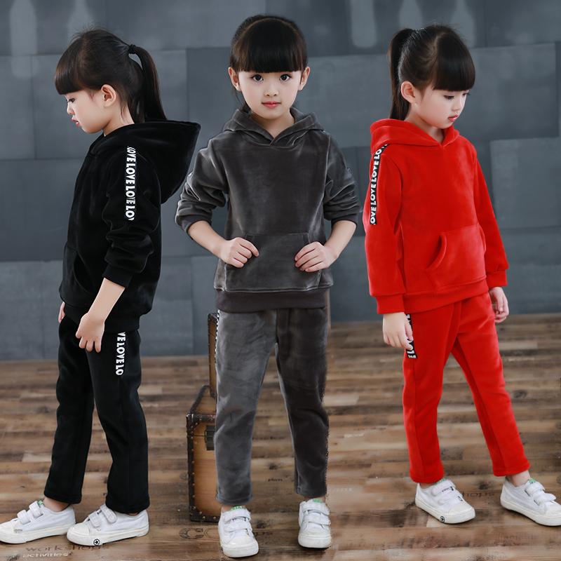 童装男童女童金丝绒套装2017新款秋冬季儿童加绒加厚运动两件套潮