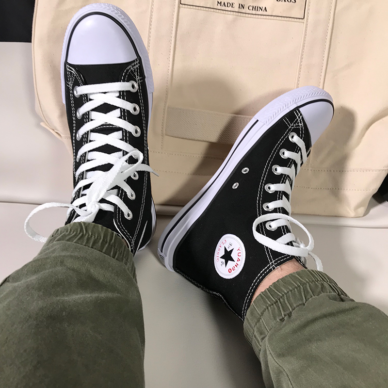 回力官方高帮帆布鞋男韩版潮流百搭休闲情侣板鞋高邦鞋学生网红鞋