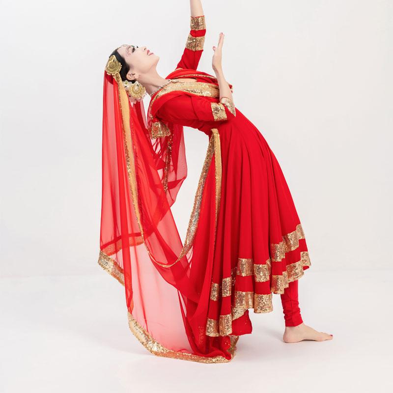 印度舞蹈服饰安娜连衣裙金边大摆卡塔克练功表演华丽异域风情女装