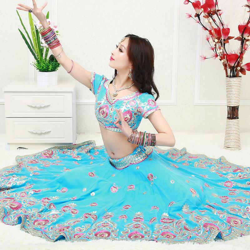 印度纱丽演出服宝莱坞舞蹈楞哈四件套穆斯林纱丽旁遮蔽民族风刺绣