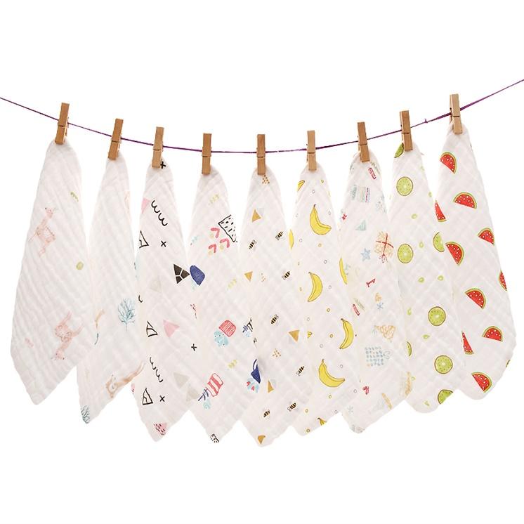 Baby gauze towel saliva towel newborn baby cotton face washing square towel super soft water absorbent breast feeding towel handkerchief