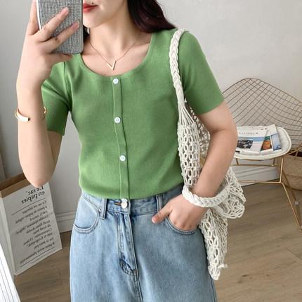 2019夏季新款大码冰丝针织衫方领短袖t恤女胖妹妹显瘦打底上衣潮