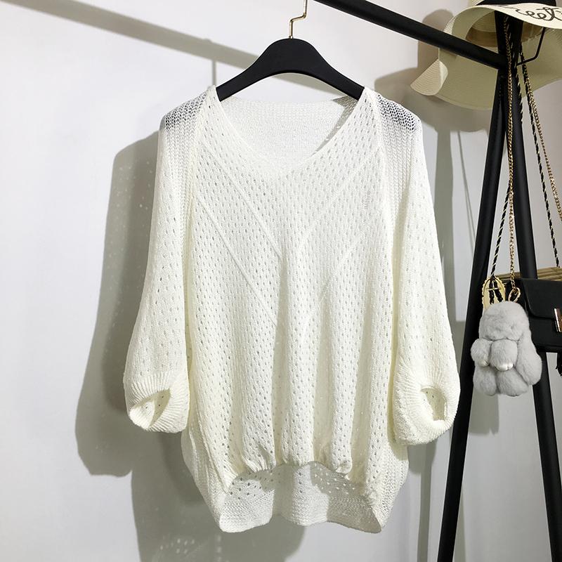 针织镂空套头春夏新款宽松中袖罩衫(非品牌)