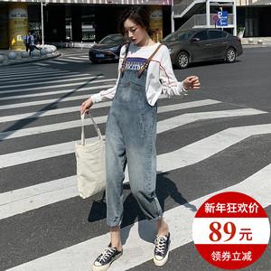 牛仔背带裤女韩版宽松chic2020年新款春装日系可爱vintage流行