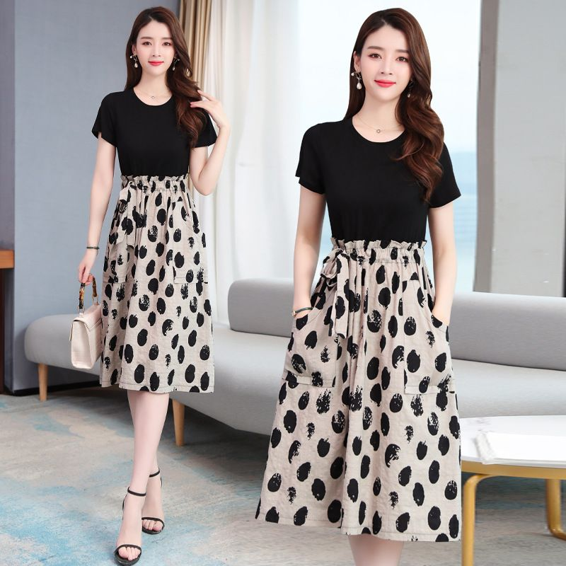 Popular 2020 summer new womens wear with thin stitching large size wave dot cotton and hemp fake two piece short sleeve dress for women