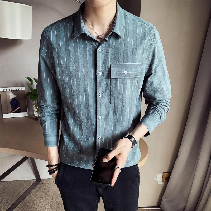 烟罗衬衫男长袖2020秋季新款韩版潮流帅气条纹衬衣男士潮休闲衬衣