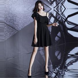 法式小晚礼服2020新款气质高贵优雅黑色短款性感宴会洋装连衣裙女