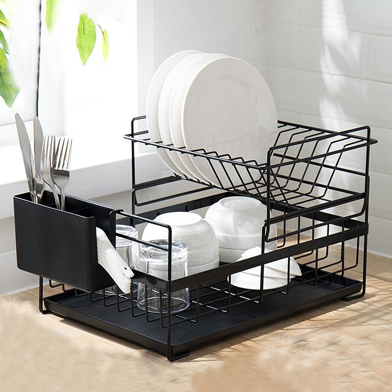 厨房碗架沥水架双层碗盘餐具置物架家用放碗碟筷收纳盒不锈钢用品
