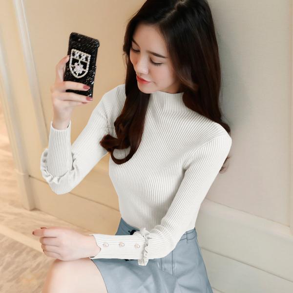 972#实拍2017冬装新品韩版女装保暖打底衫毛衣针织衫上衣女钉珠