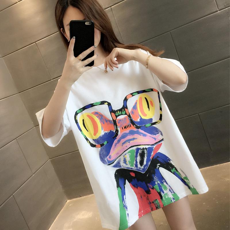 2020年韩版潮流时尚女装洋气夏季新品个性印花下衣失踪宽松t恤衫
