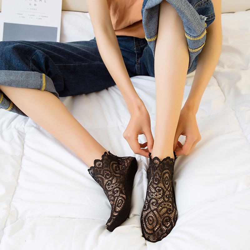 3双浅口低帮蕾丝袜子女士日系花边短袜网格透气船袜女纯棉底防滑