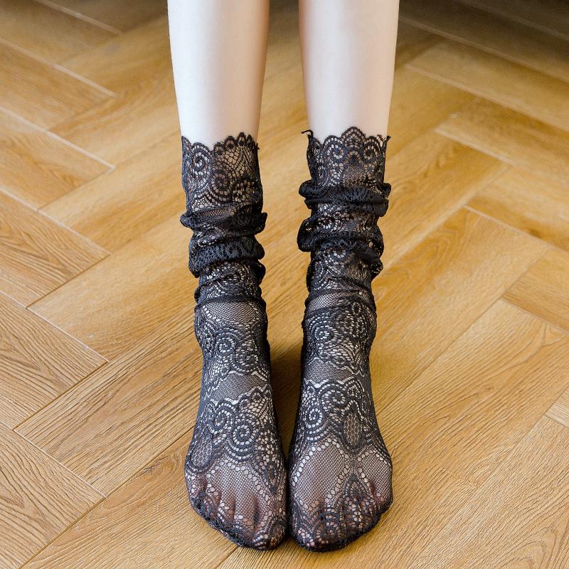 日系蕾丝网眼堆堆袜复古花边时尚蕾丝中筒袜春夏镂空花纹长袜子女