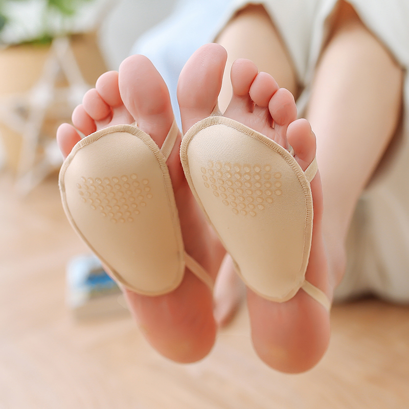 2双脚垫女点胶防滑短袜隐形超浅口船袜棉垫防磨脚半截掌凉鞋袜套