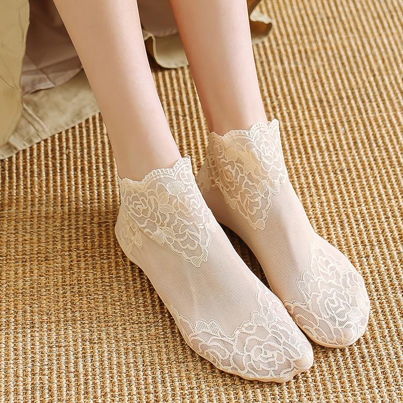4双装夏季蕾丝袜子女士日系花边短袜浅口船袜女纯棉底防滑床袜薄