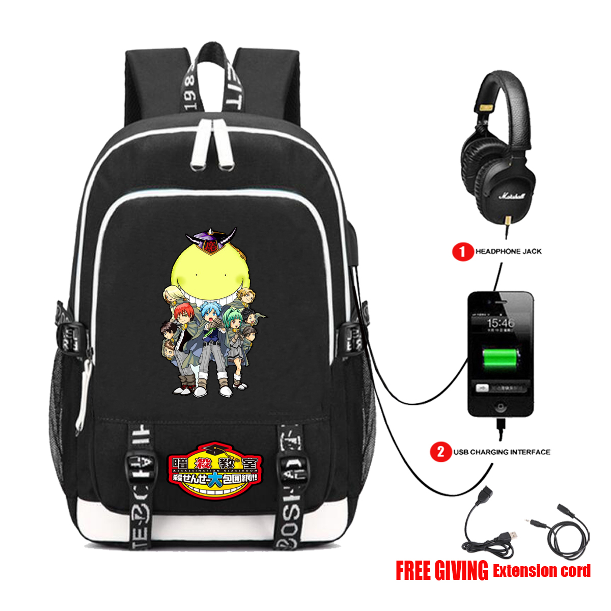 Animation assassination classroom Travel Backpack student bag USB headset interface multi-functional computer bag