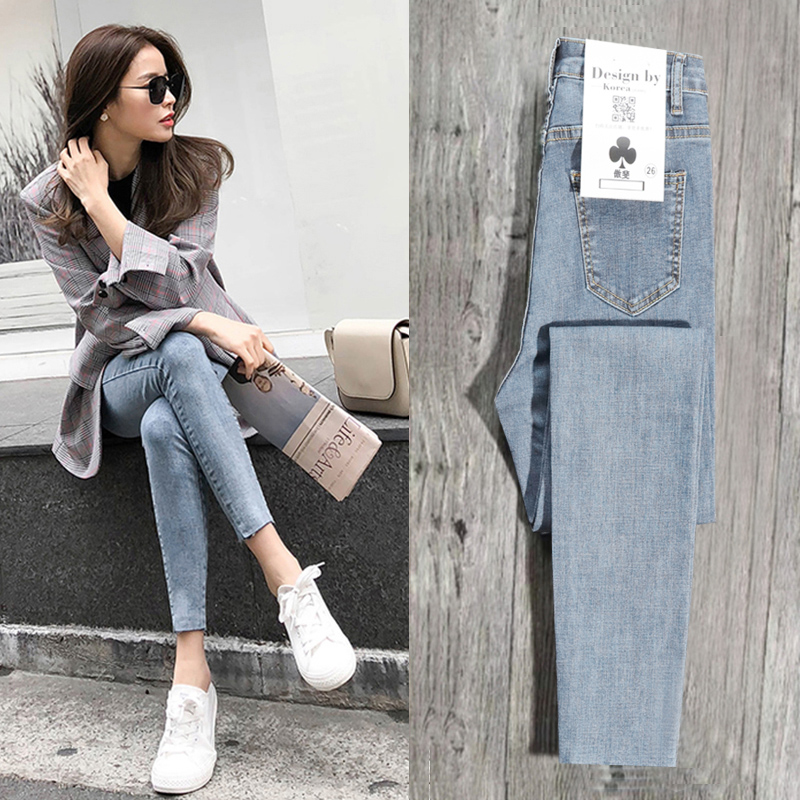 Light-colored skinny jeans, women's nine-cent thin style, the new spring dress of 2019, net red Korean version, super high waist, slim feet, summer