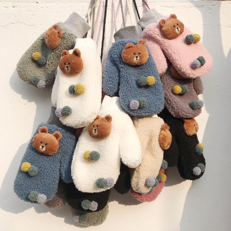 手套女冬保暖挂脖可爱学生韩版卡通小熊加绒加厚羊糕绒日系软妹 thumbnail