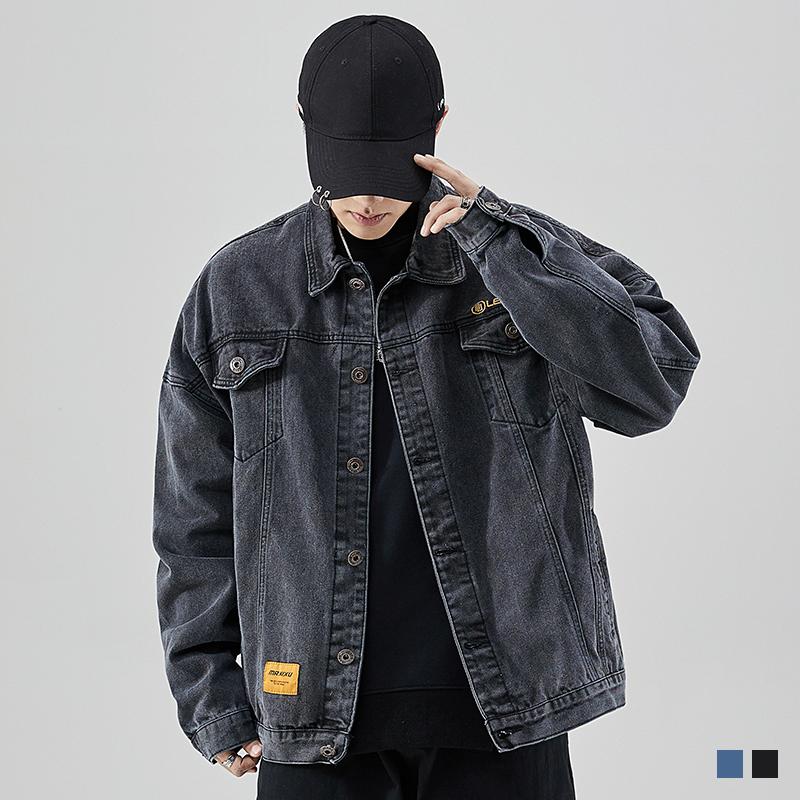 张欣尧WIGGLE黑色牛仔外套男2019春季流行港风宽松男士工装夹克