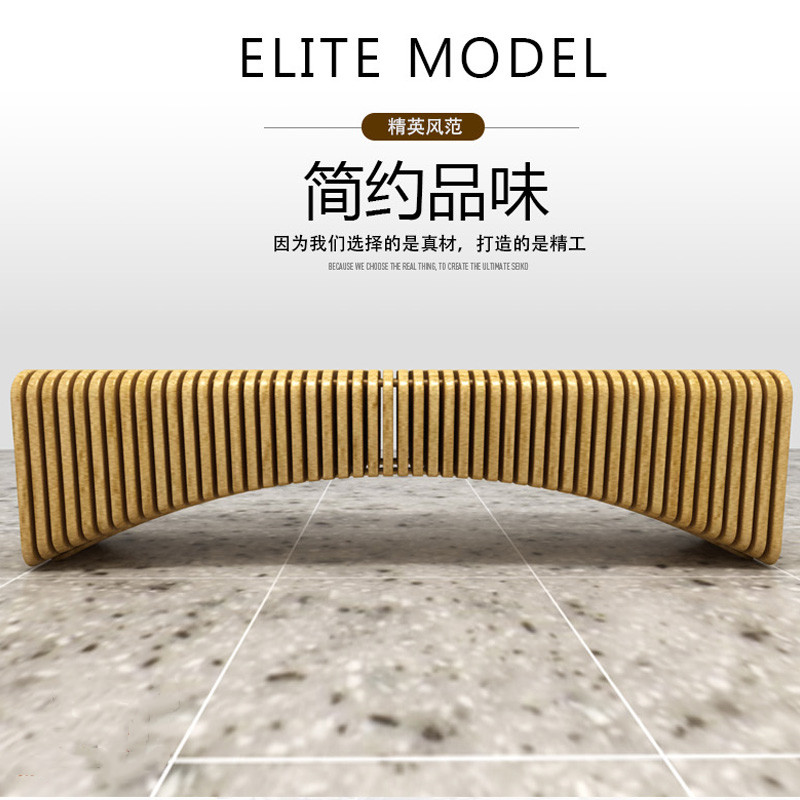Nordic solid wood bench simple wooden bench designer creative leisure bench mall Gallery rest stool