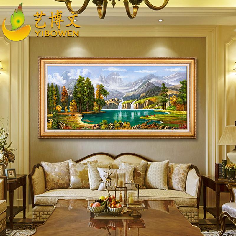 玄关聚宝盆挂画定制美式壁画欧式纯手绘油画客厅装饰画山水风景画