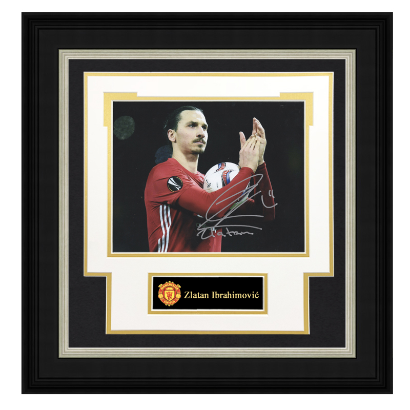 Collection of autographed photos of Ibrahimovic from Manchester United framed with SA certificate