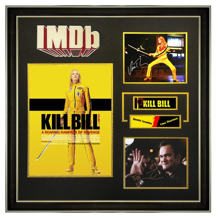 杀死比尔 昆汀塔伦蒂诺 乌玛瑟曼 亲笔签名 照片裱框 含证书 IMDB