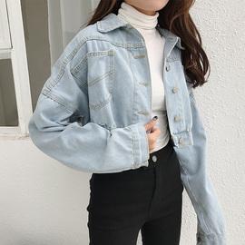 秋装女装韩版BF风宽松百搭牛仔外套短款后开叉长袖开衫上衣夹克潮图片