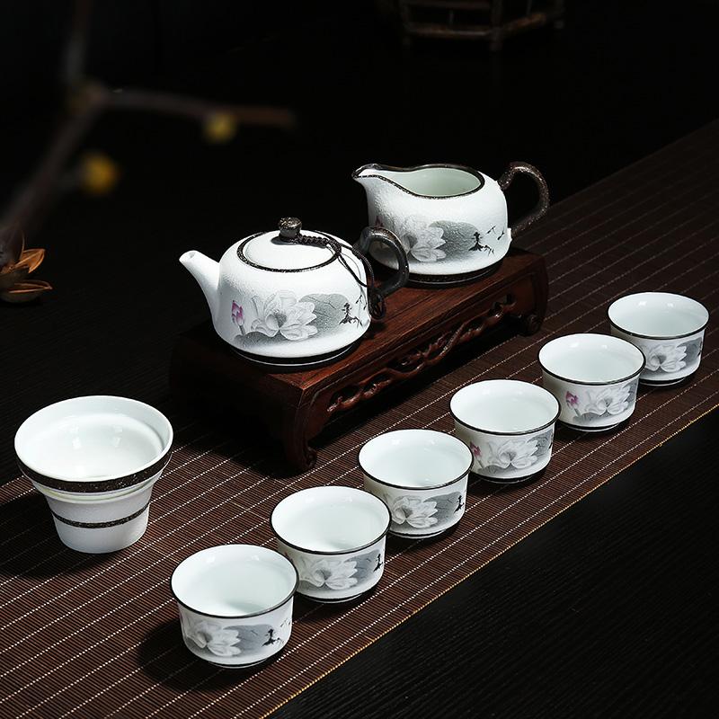 Керамика усилие чайный сервиз снег глазурь чайный сервиз чайный сервиз чайник чашка подарок пакет чайный сервиз бесплатная доставка