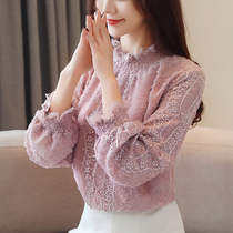 Velvet thickened lace Bottom shirt female long sleeve 2018 autumn and winter new very fairy chiffon top female foreign gas blouse