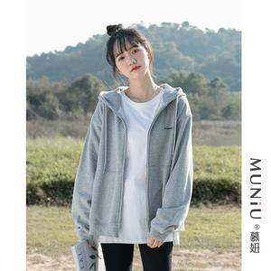 灰色连帽开衫卫衣女2021春季新款韩版宽松百搭外套休闲上衣潮ins