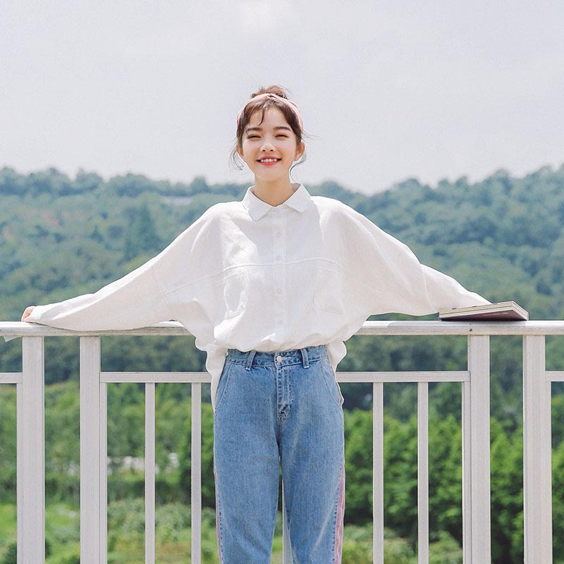 2019夏新款纯棉韩版学生外穿文艺白色休闲长袖衬衣宽松上衣女衬衫